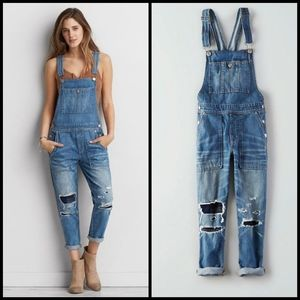 AEO distressed patched denim overalls size M